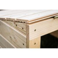 Holz (unbehandelt) | 67x67x42 cm | Fertig montiert | Mit Deckel (Schrägdach)