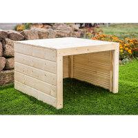 Holz (unbehandelt) | 69x69x40 cm | Mit Dach (kein Deckel)...